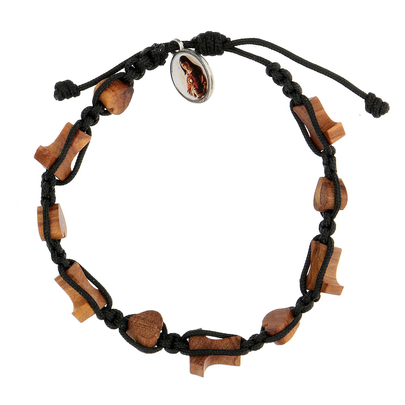 Handmade Medjugorje bracelet made of hearts and tau crosses in olive tree wood 4