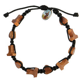 Handmade Medjugorje bracelet made of hearts and tau crosses in olive tree wood s1
