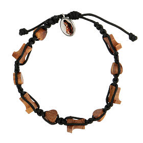 Handmade Medjugorje bracelet made of hearts and tau crosses in olive tree wood s2