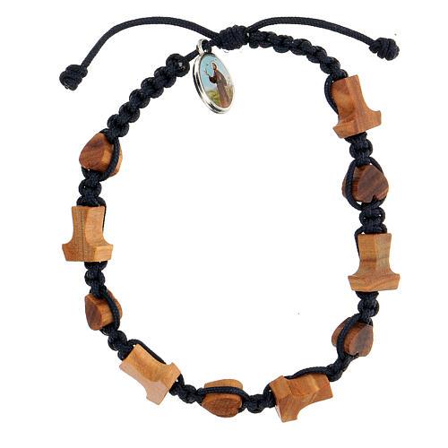 Bracelet coeurs et croix olivier Medjugorje 1