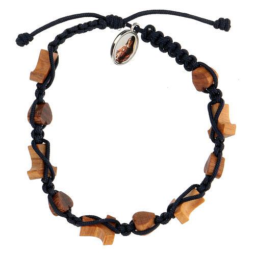 Bracelet coeurs et croix olivier Medjugorje 2