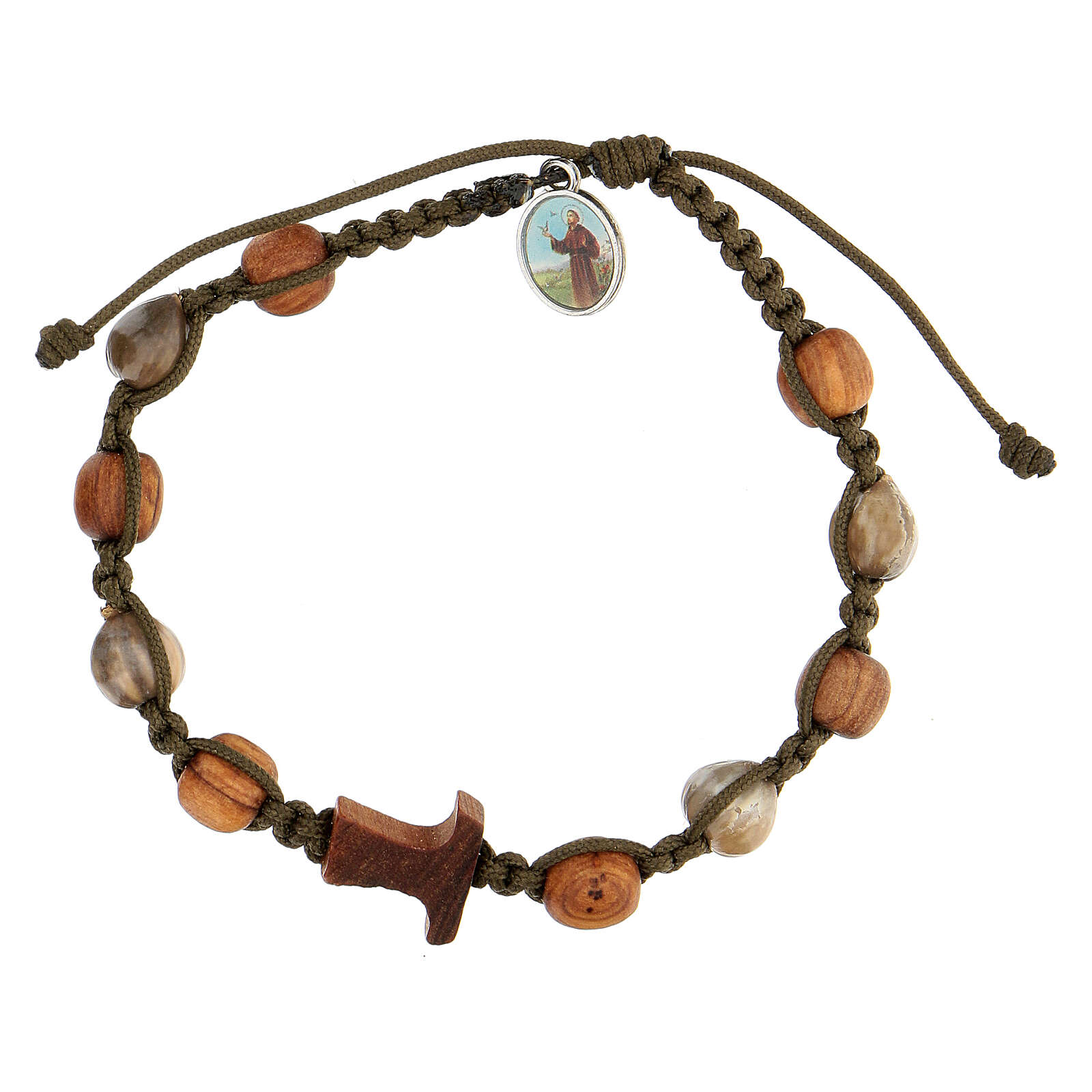 Bracelet grains bicolores croix tau Medjugorje corde vert foncé 4