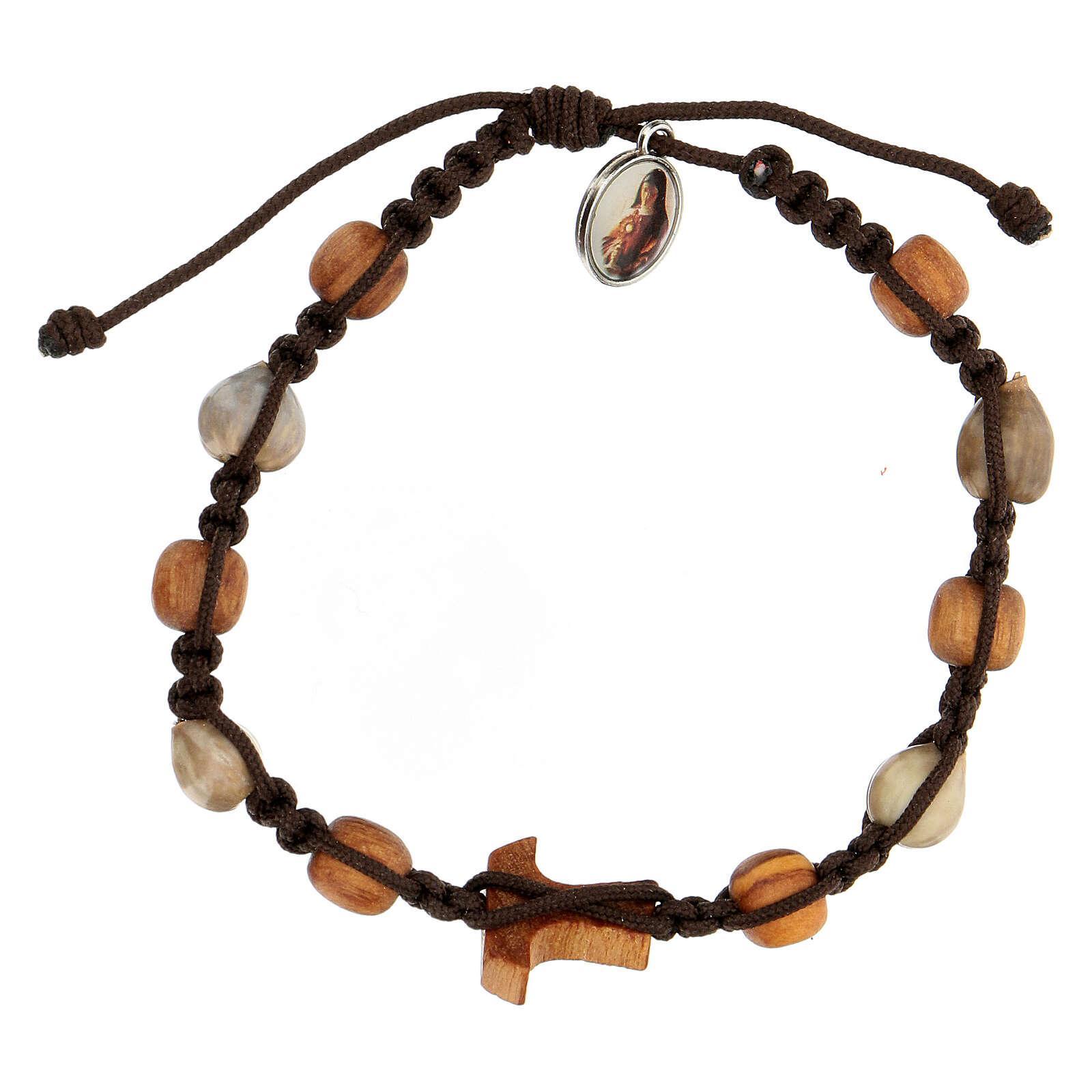 Pulsera granos bicolor cruz tau Medjugorje cuerda marrón Lágrima Job 4