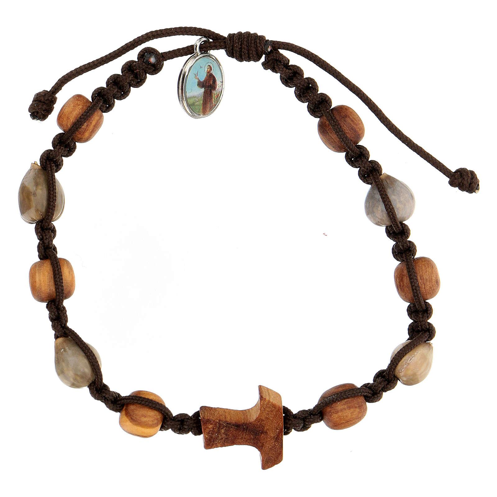 Bracelet grains bicolores croix tau Medjugorje corde marron Larmes-de-Job 4