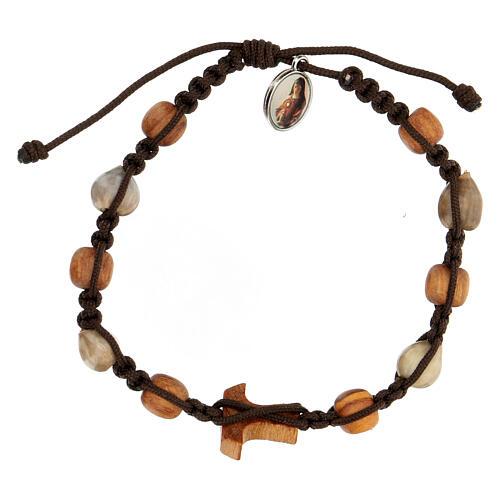 Bracelet grains bicolores croix tau Medjugorje corde marron Larmes-de-Job 2
