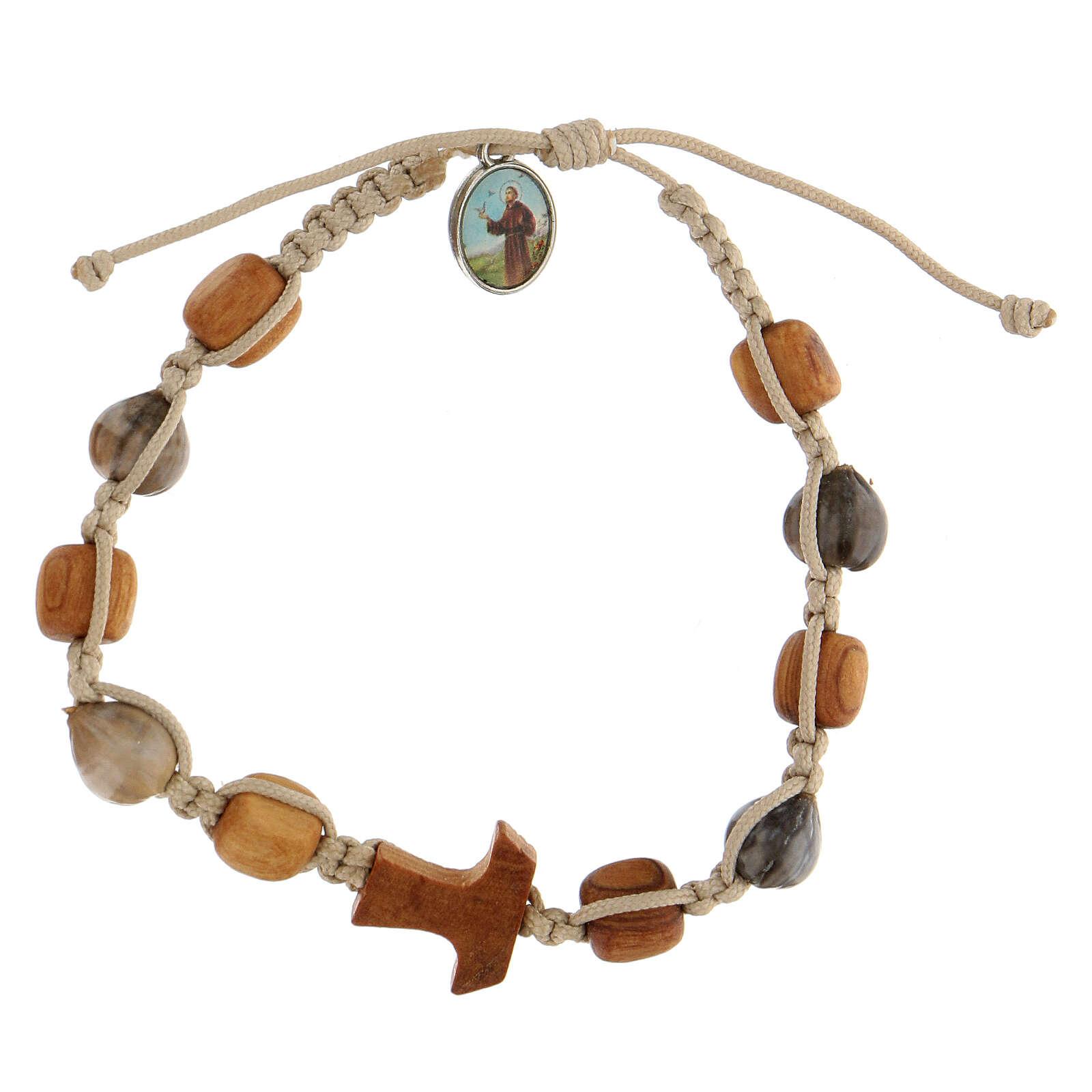 Bracelet grains ronds Medjugorje corde beige 4
