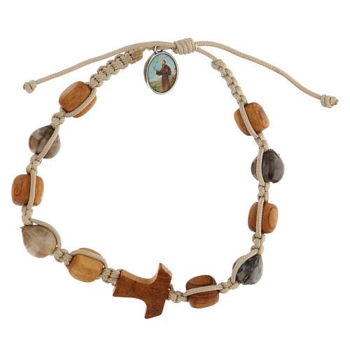 Bracelet grains ronds Medjugorje corde beige 1