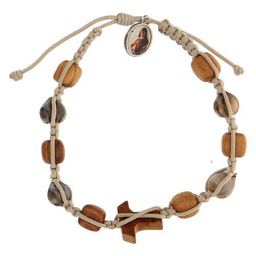Bracelet grains ronds Medjugorje corde beige 2