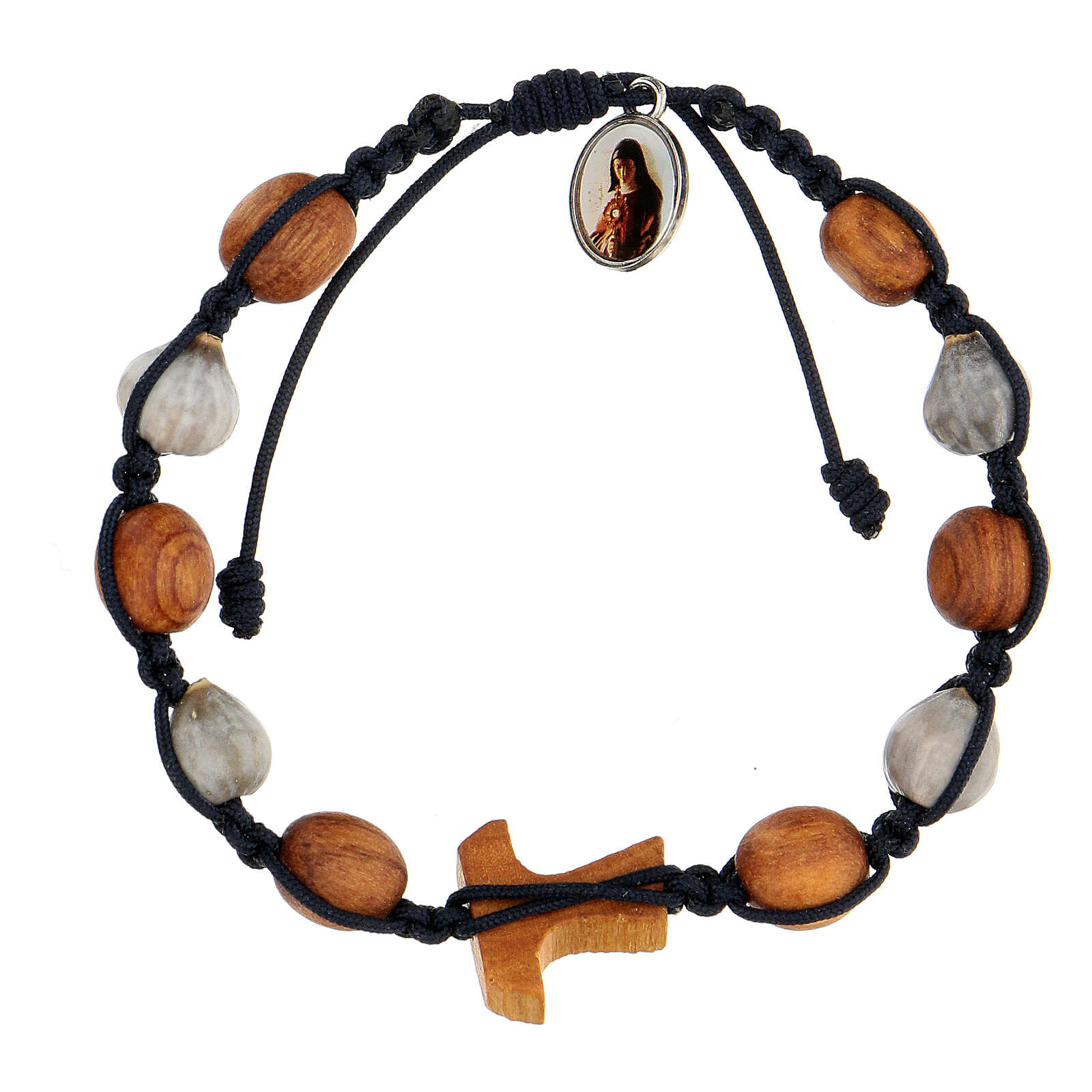 Bracelet croix tau grains ronds bicolores Medjugorje corde bleue 4