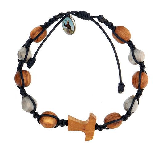 Bracelet croix tau grains ronds bicolores Medjugorje corde bleue 1