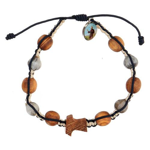 Bracelet Medjugorje médailles croix olivier corde bicolore beige et bleue 1