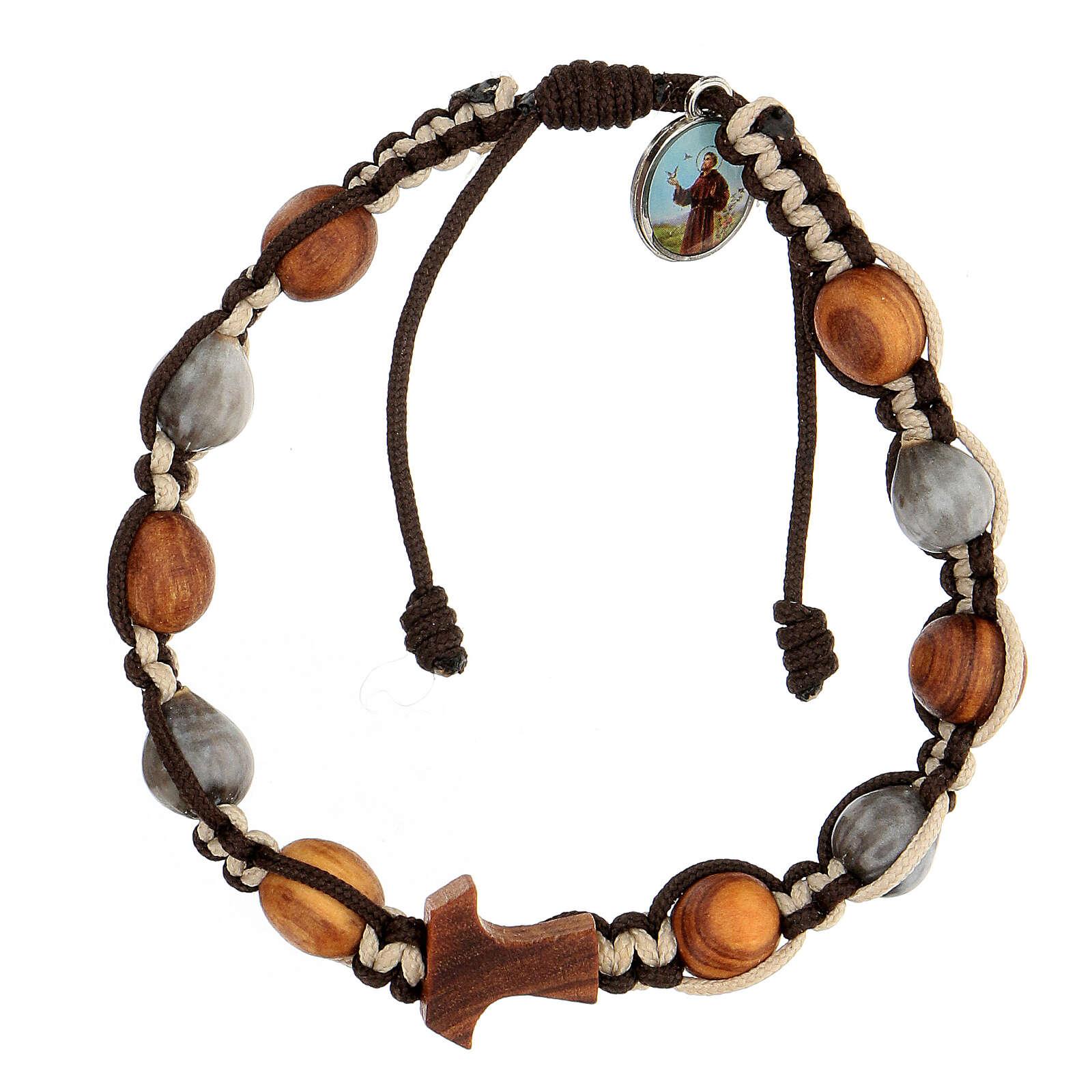Bracelet Medjugorje grains ronds corde bicolore Larmes-de-Job 4