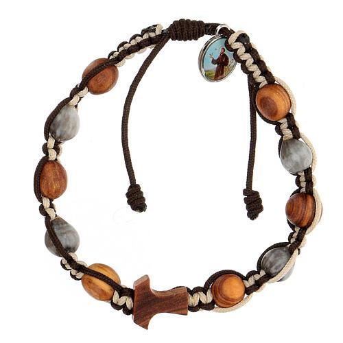 Bracelet Medjugorje grains ronds corde bicolore Larmes-de-Job 1