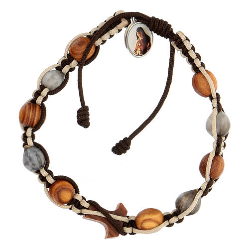 Bracelet Medjugorje grains ronds corde bicolore Larmes-de-Job 2