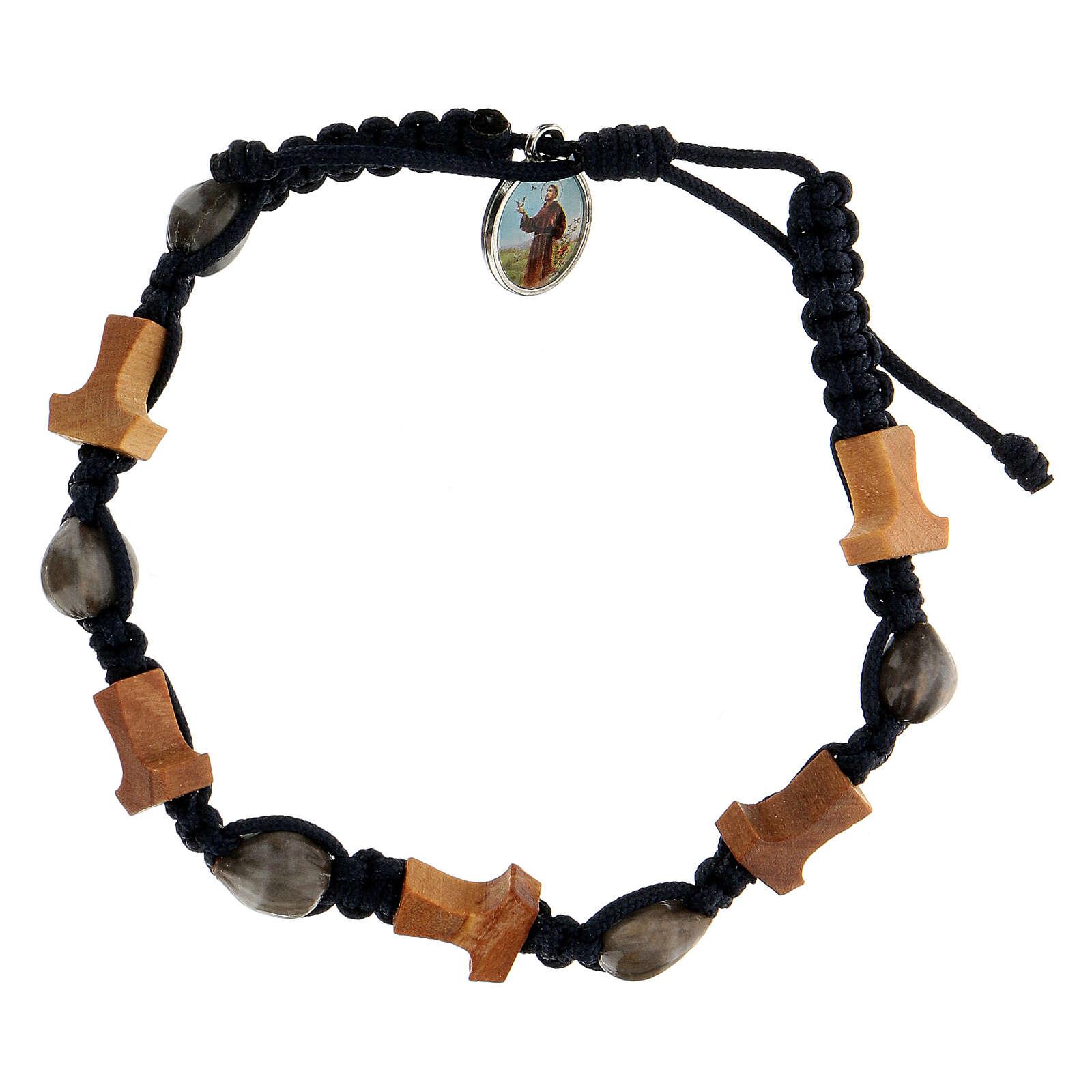Bracelet Medjugorje croix tau Larmes-de-Job corde bleue 4
