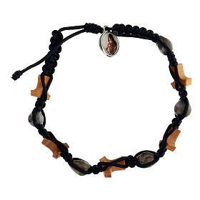 Bracelet Medjugorje croix tau Larmes-de-Job corde bleue s2