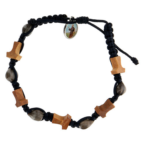 Bracelet Medjugorje croix tau Larmes-de-Job corde bleue 1