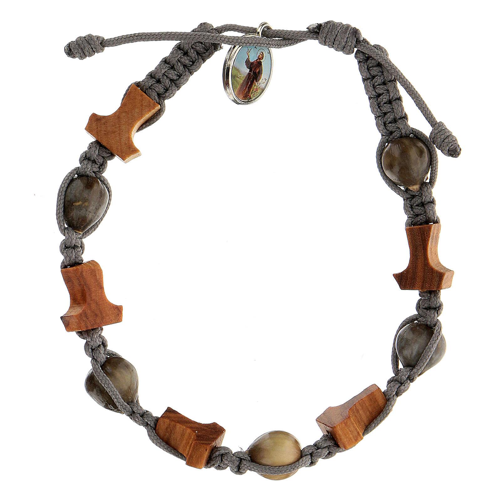 Bracelet grains ronds croix tau Medjugorje corde grise Larmes-de-Job 4