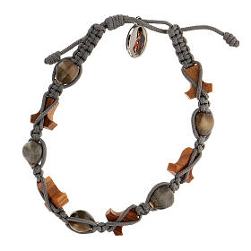 Bracelet grains ronds croix tau Medjugorje corde grise Larmes-de-Job s2