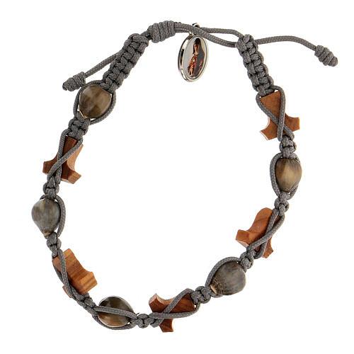 Bracelet grains ronds croix tau Medjugorje corde grise Larmes-de-Job 2