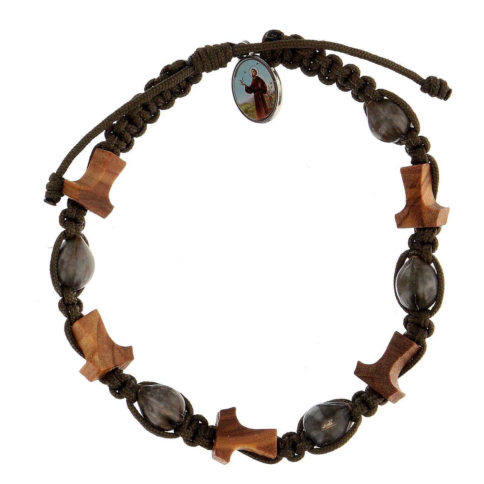 Bracelet Larmes-de-Job tau Medjugorje corde vert foncé 4