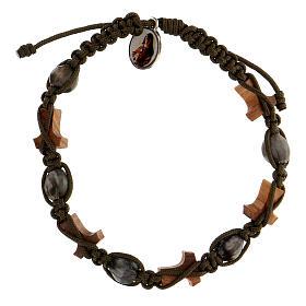 Bracelet Larmes-de-Job tau Medjugorje corde vert foncé s2