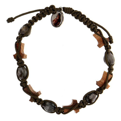 Bracelet Larmes-de-Job tau Medjugorje corde vert foncé 2