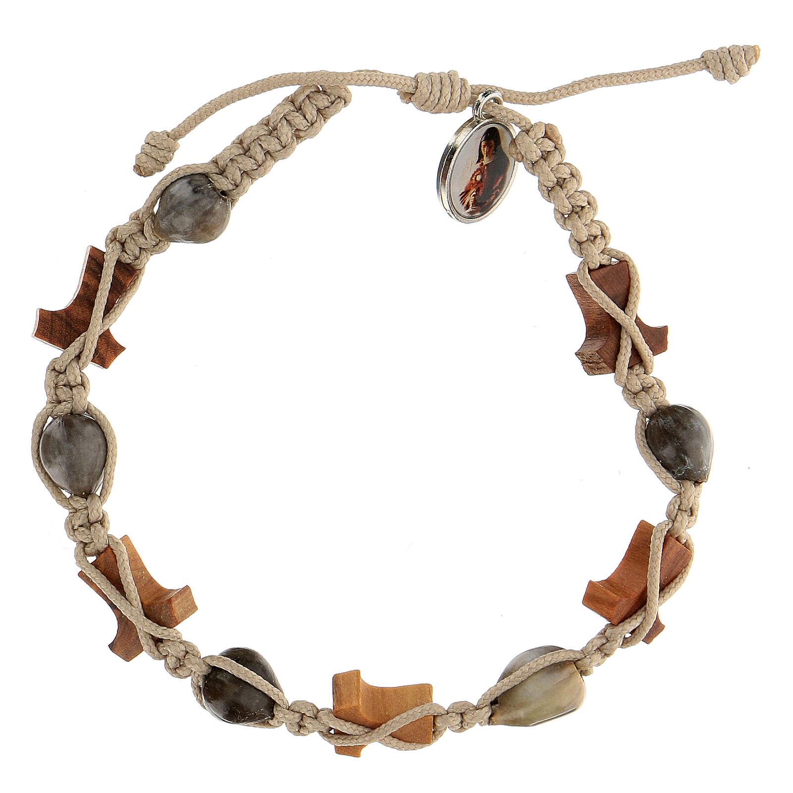 Bracelet Medjugorje olivier tau corde beige Larmes-de-Job 4