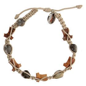 Bracelet Medjugorje olivier tau corde beige Larmes-de-Job s2