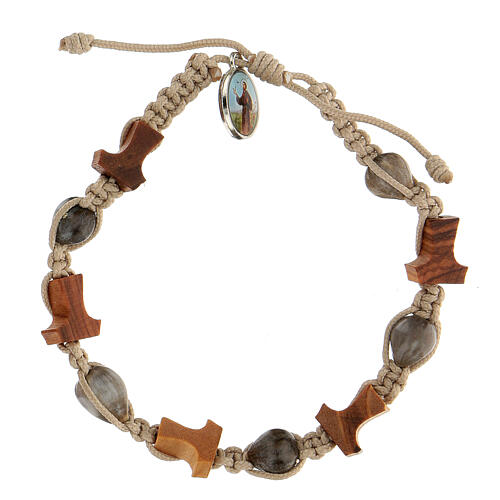 Bracelet Medjugorje olivier tau corde beige Larmes-de-Job 1