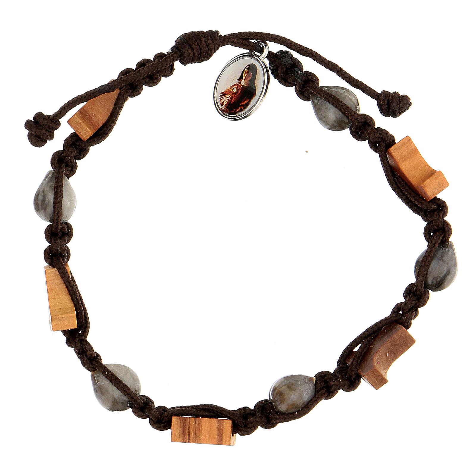 Bracelet croix tau Medjugorje corde marron Larmes-de-Job 4