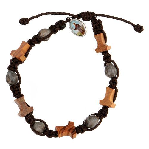Bracelet croix tau Medjugorje corde marron Larmes-de-Job 1