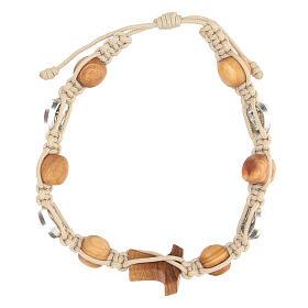 Bracelet Saint François grains ronds Medjugorje corde beige s2