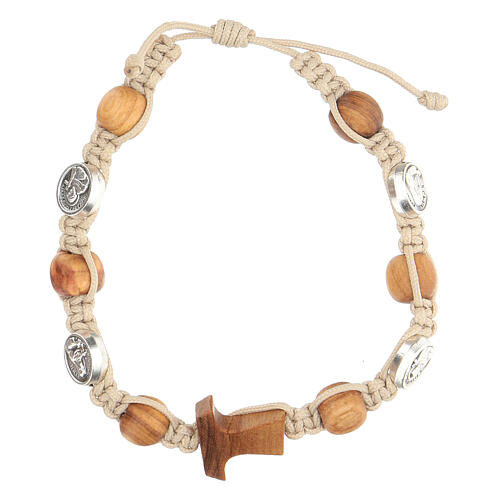 Bracelet Saint François grains ronds Medjugorje corde beige 1