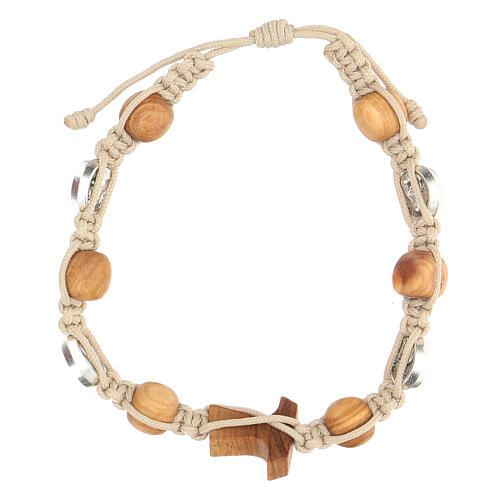 Bracelet Saint François grains ronds Medjugorje corde beige 2