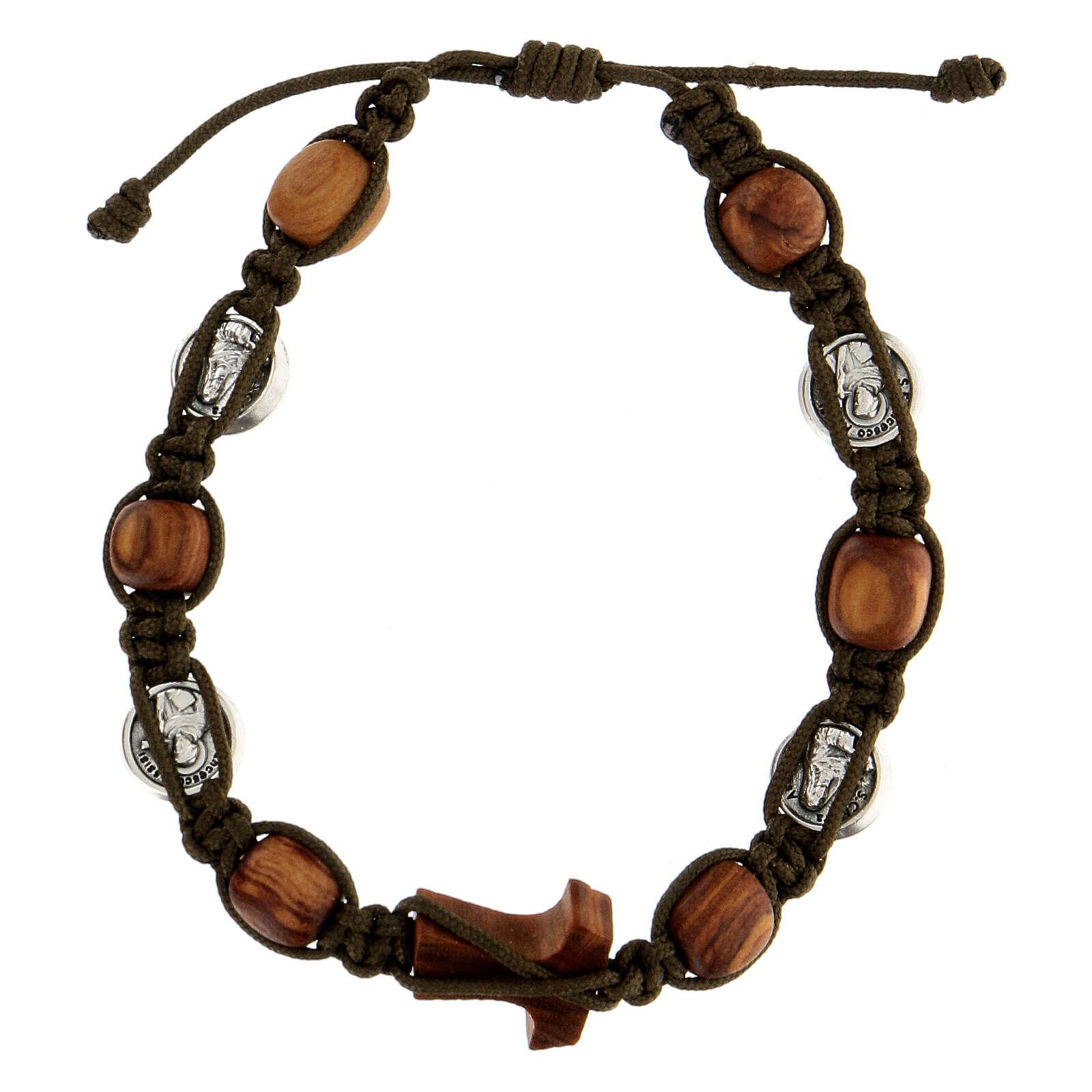 Bracelet Medjugorje médailles grains ronds corde vert foncé 4