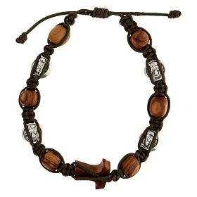 Bracelet Medjugorje médailles grains ronds corde vert foncé s2