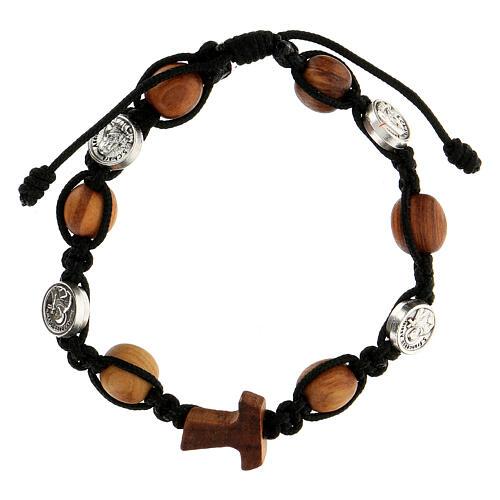 Bracelet grains ronds corde médailles Medjugorje corde noire 1