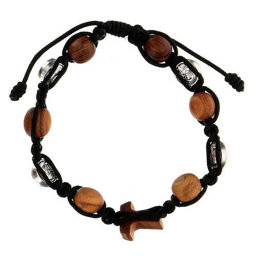 Bracelet grains ronds corde médailles Medjugorje corde noire 2