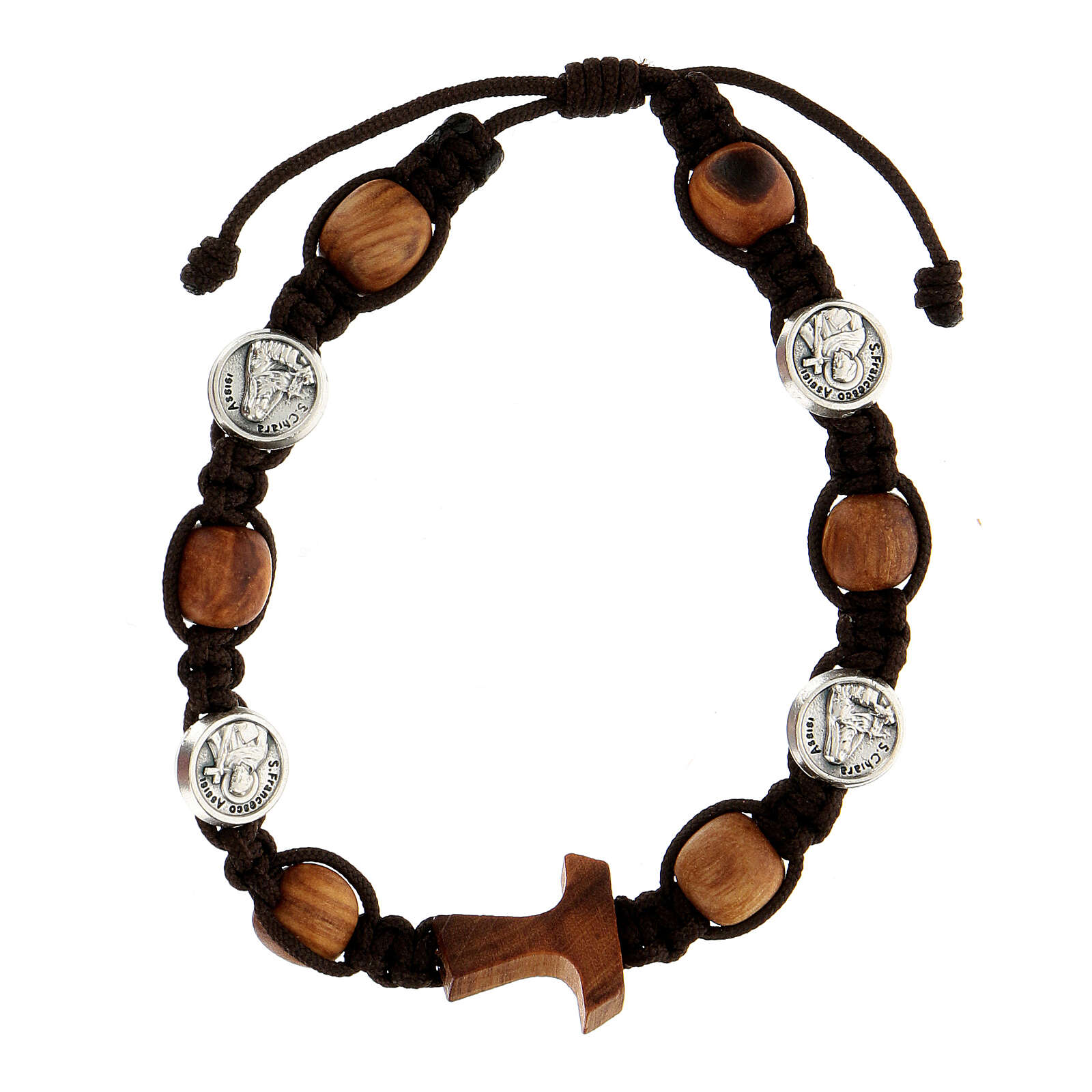 Pulsera granos redondos cuerda medallas Medjugorje cuerda marrón 4