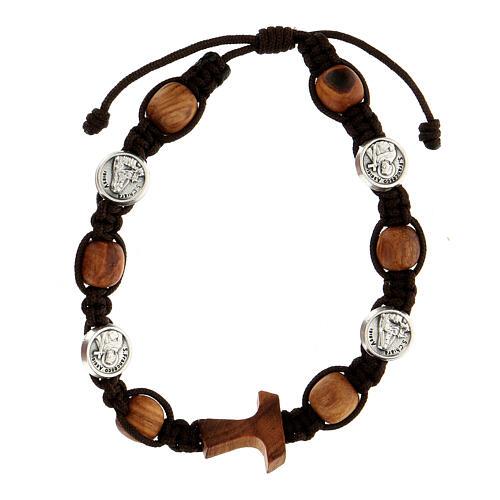 Pulsera granos redondos cuerda medallas Medjugorje cuerda marrón 1