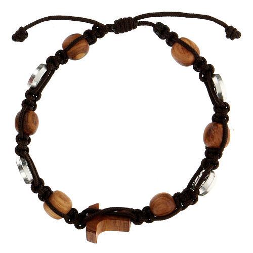 Pulsera granos redondos cuerda medallas Medjugorje cuerda marrón 2