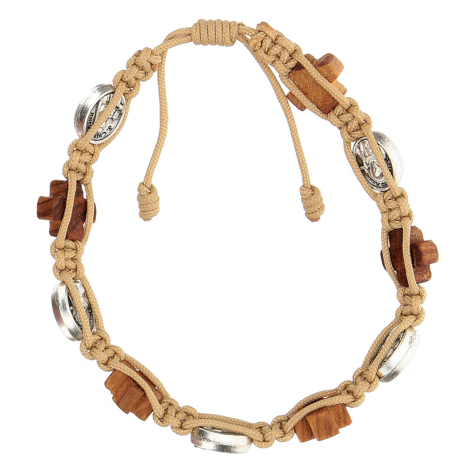 Bracelet Medjugorje médailles croix bois olivier corde beige 4