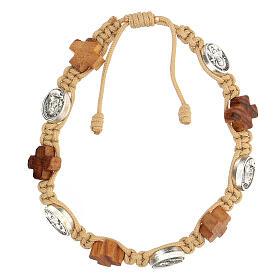 Bracelet Medjugorje médailles croix bois olivier corde beige s1