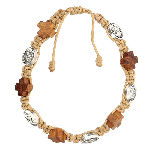 Bracelet Medjugorje médailles croix bois olivier corde beige 1