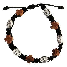 Bracelet Medjugorje corde noire médaille croix bois olivier s1