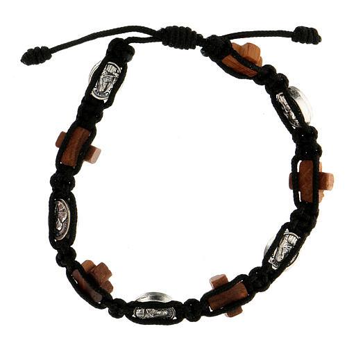 Bracelet Medjugorje corde noire médaille croix bois olivier 2