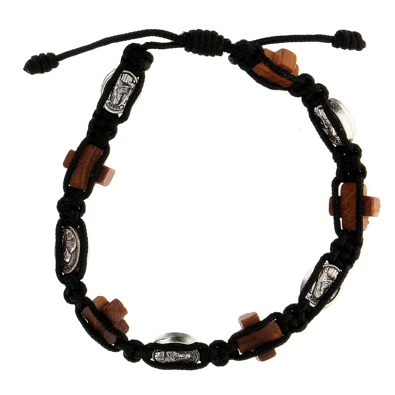 Bracciale Medjugorje corda nera medagliette croci legno ulivo 4