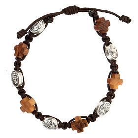 Medjugorje religious bracelet olive wood crosses and metal medals  s1