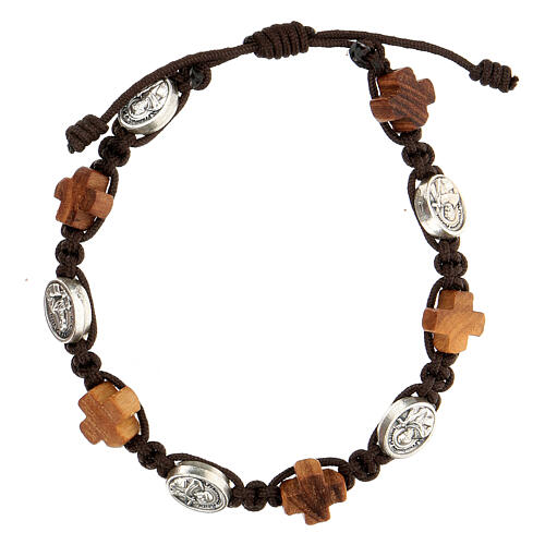 Bracelet olivier Medjugorje médaille corde marron 1